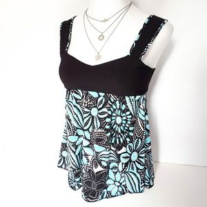 Pre-owned Floral Babydoll Tank Top